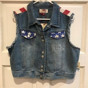L.e.i. American Flag Vest Denim Blue Jean XL